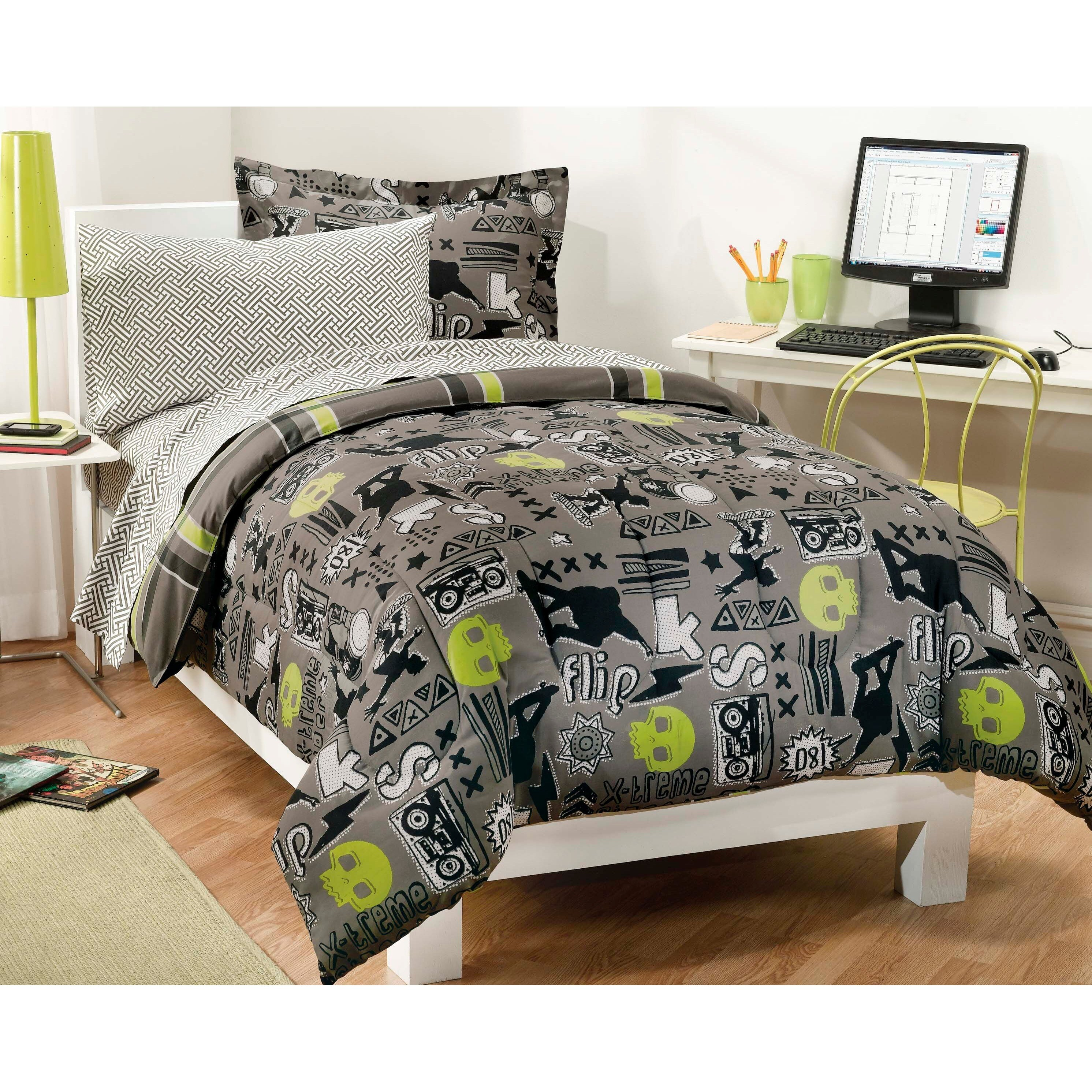 X-Factor Twin-size 5-piece Bed in a Bag with Sheet Set (T...
