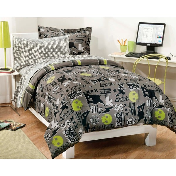 X-Factor Twin-size 5-piece Bed in a Bag with Sheet Set