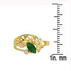 Simon Frank 14k Gold Overlay Green/ Clear CZ Spanish Lace Ring - Thumbnail 2