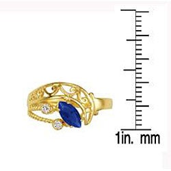 Simon Frank 14k Gold Overlay Blue/ Clear CZ Spanish Lace Ring - Thumbnail 2