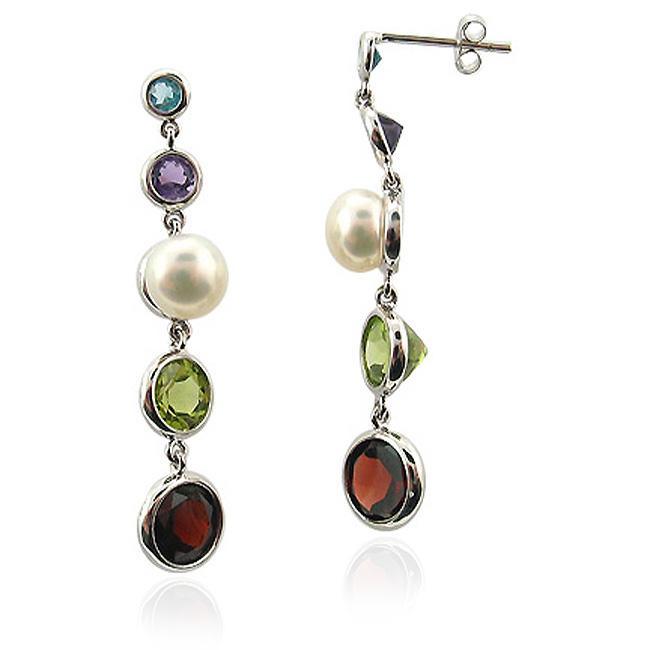 DaVonna 14k White Gold Multigemstone and FW Pearl Dangle Earrings (6-7 mm)