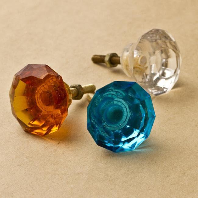 Set of 6 Glass Jeweler's Knob (India)