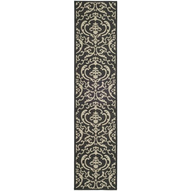 Safavieh Bimini Damask Black/ Sand Indoor/ Outdoor Runner (2'4 x 9'11)