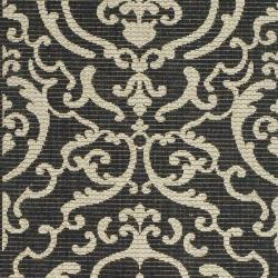 Safavieh Bimini Damask Black/ Sand Indoor/ Outdoor Runner (2'4 x 9'11) - Thumbnail 2
