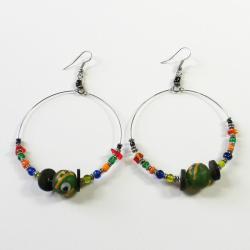 Sterling Silver Colorful Beaded Hoop Earrings (Kenya)