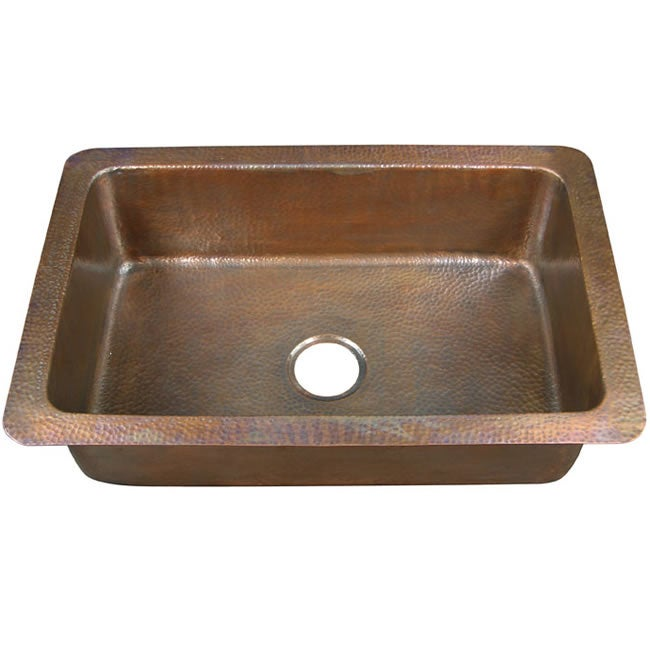 Copper Factory Large Single-bowl Drop-in Antique Copper Kitchen Sink