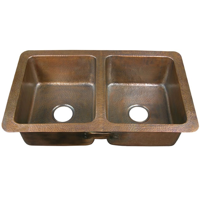 Copper factory CF164AN  Double-bowl Drop-in Antique Copper Kitchen Sink