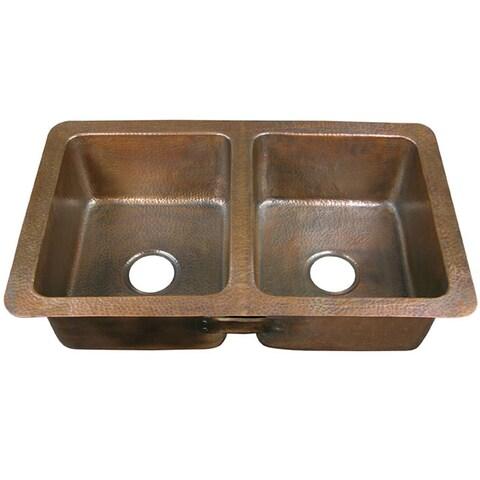 Copper factory CF164AN Double-bowl Drop-in Antique Copper Kitchen Sink