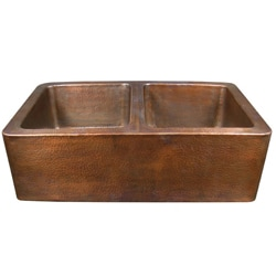 Copper Factory Double-bowl CF166AN  Farmhouse Antique Copper Kitchen Sink