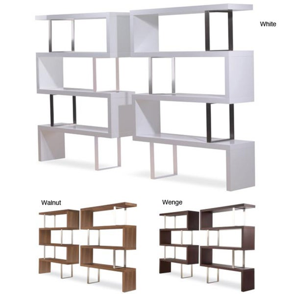 Modloft pearl modern bookcase free shipping today for Furniture of america nara contemporary 6 shelf tiered open bookcase