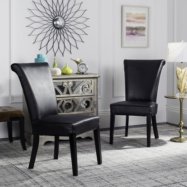Safavieh En Vogue Dining Madison Black Leather Dining Chairs (Set of 2)