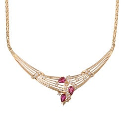 Kabella 14k Yellow Gold Ruby and 5/8ct TDW Diamond Necklace (H-I, I2-I3)