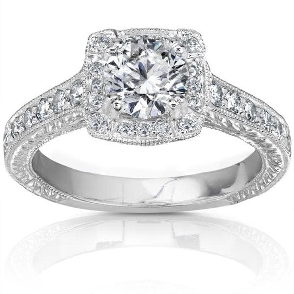 Annello by Kobelli 14k White Gold 1ct TDW Diamond Engagement Ring (H-I, I1-I2)