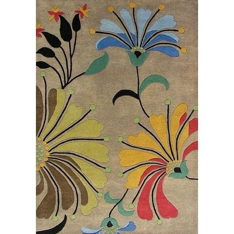 Hand-tufted Metro Flower Beige Wool Rug - 5' x 8'