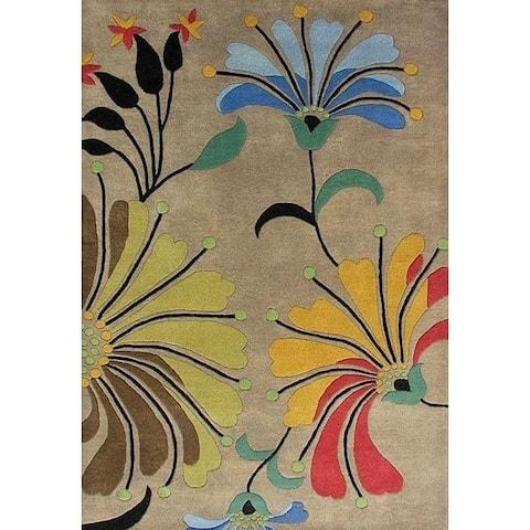 Hand-tufted Metro Flower Beige Wool Rug - 5' x 8'