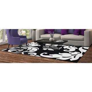 Alliyah Handmade Quill Feather Black/ White New Zealand Blend Wool Rug (8' x 10')