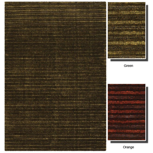 Hand-woven Mandara Shag New Zealand Wool Rug (5' x 7'6)