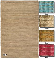Artist's Loom Hand-woven  Casual Reversible Natural Eco-friendly Jute Rug (5'x7'6) - Thumbnail 1