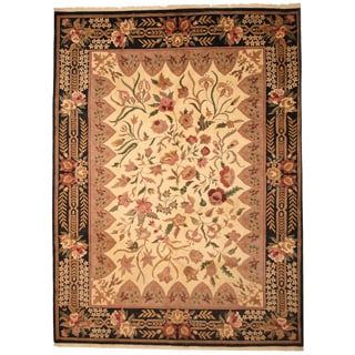 Herat Oriental Indo Hand-knotted Aubusson Ivory/ Black Wool Rug (8' x 12')