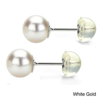 DaVonna 14k Gold White Round Akoya Pearl Stud Earrings (4-5 mm )