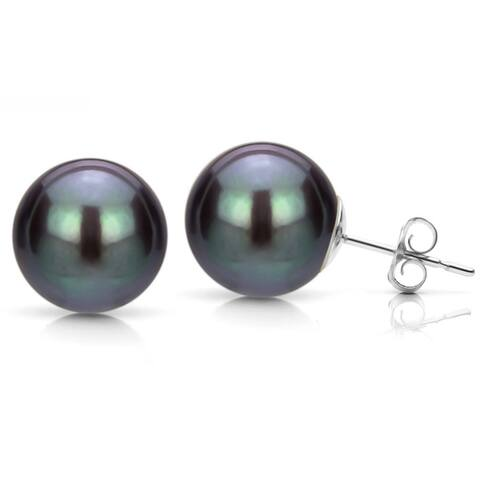 DaVonna 14k White Gold Black Perfect Round Freshwater Pearl Stud Earrings (5-12 mm)