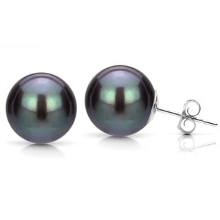 DaVonna 14k White Gold Black Perfect Round Akoya Pearl Stud Earrings (5-12 mm)