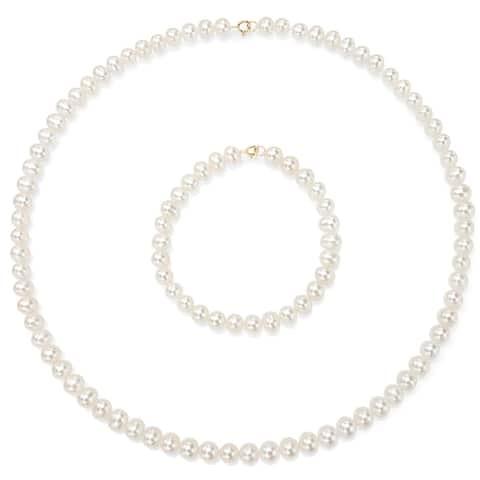 DaVonna Children's 14k Gold 4-5mm Freshwater Pearl Necklace Bracelet Set (14.5-in/ 5.75-in)