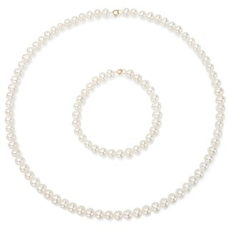 DaVonna 14k Gold Freshwater Pearl Necklace/ Bracelet Set (4-4.5 mm/ 14.5 in/ 5.75 in)