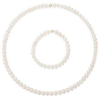 DaVonna Children's 14k Gold 4-5mm Freshwater Pearl Necklace Bracelet Set (14.5-in/ 5.75-in) - Whtie