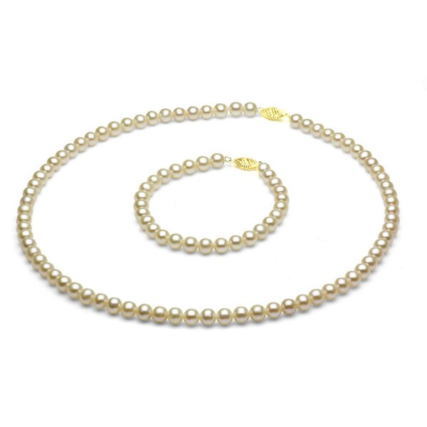 DaVonna 14k Gold Children's Pearl Necklace/ Bracelet Set (4-4.5 mm/ 14.5 in/ 5.75 in)