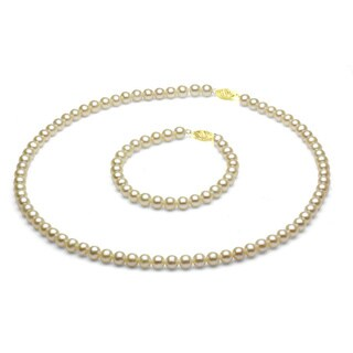 DaVonna 14k Gold Children's 4-5mm Freshwater Pearl Necklace Bracelet Set ( 14 in/ 5.75 in)