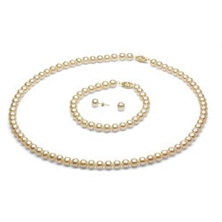 DaVonna 14k Gold White FW Pearl Necklace Bracelet and Earring Set (6-6.5 mm)