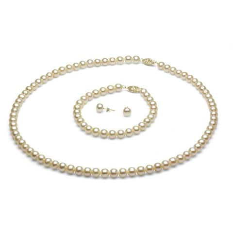 DaVonna 14k Gold 6-7 mm White Freshwater Pearl Necklace Bracelet and Earring Set