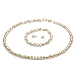 Link to DaVonna 14k Gold 6-7 mm White Freshwater Pearl Necklace Bracelet and Earring Set Similar Items in Jewelry Sets