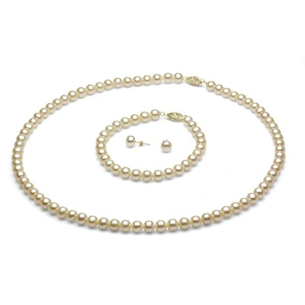 Davonna 14k Gold 6 7 Mm White Freshwater Pearl Necklace Bracelet And Earring Set