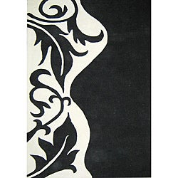 Hand-tufted Royal Quill Black/ White Wool Rug (5' x 8')