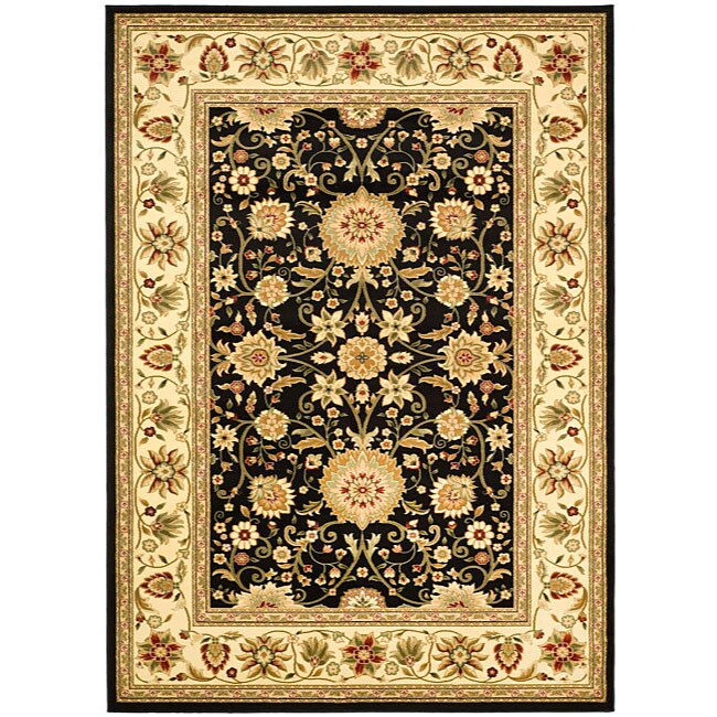 Lyndhurst Collection Majestic Black/ Ivory Rug (9 X 12)