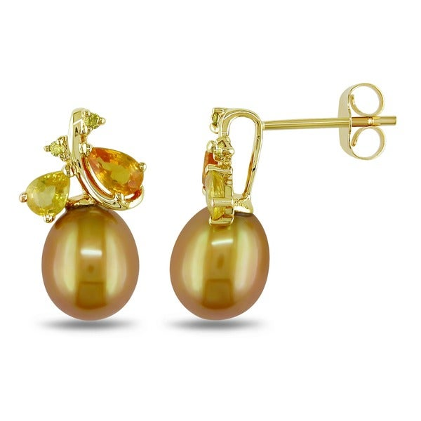 Miadora 10k Yellow Gold Golden Cultured Freshwater Pearl/ Sapphire/ Diamond Accent Earrings (8.-8.5 mm)
