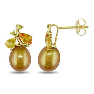 Miadora 10k Yellow Gold Golden Cultured Freshwater Pearl/ Sapphire/ Diamond Accent Earrings (8.-8.5