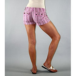 Institute Liberal Women's Pink Stripe Shorts - Thumbnail 1