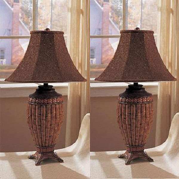 Bambit 30 Inch Bamboo Inspired Table Lamps Set Of 2