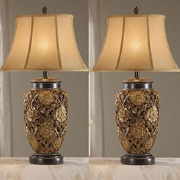 Wonderful Flostic 33 Inch Antique Table Lamps (Set Of 2)