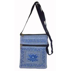 Handmade Cotton Lotus Passport Bag (Nepal) - Thumbnail 1