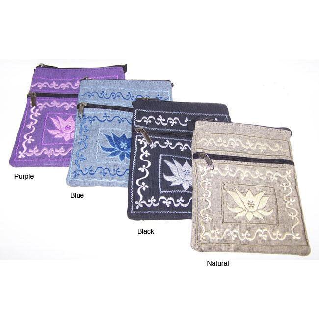 Handmade Cotton Lotus Passport Bag (Nepal)