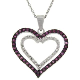 Dolce Giavonna Sterling Silver Ruby and Diamond Accent Double Heart Necklace