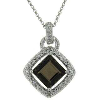 Link to Dolce Giavonna Sterling Silver Smokey Quartz and Diamond Accent Square Necklace Similar Items in Necklaces