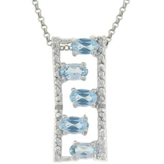 Dolce Giavonna Sterling Silver Blue Topaz and Diamond Accent Ladder Necklace
