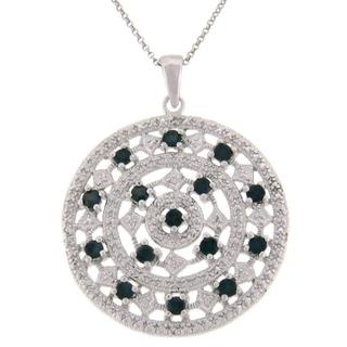 Dolce Giavonna Sterling Silver Sapphire and Diamond Accent Medallion Necklace