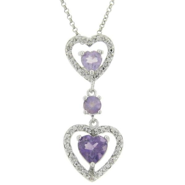 Dolce Giavonna Sterling Silver Amethyst and Diamond Accent Double Heart Drop Necklace