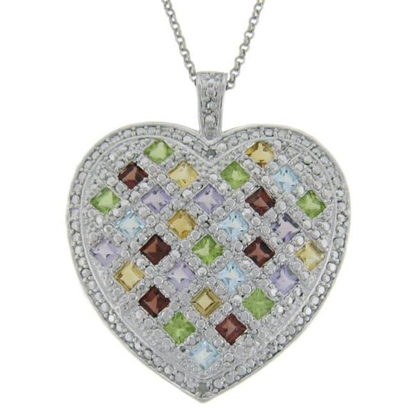Dolce Giavonna Sterling Silver Multi-gemstone and Diamond Accent Heart Necklace